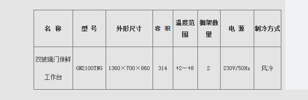 GN风冷工作台参数2